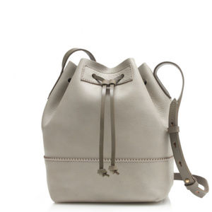 Leather J. Crew Downing Bucket Bag in Cobblestone
